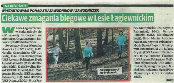 Artykuł o zawodach w Lesie Łagiewnickim