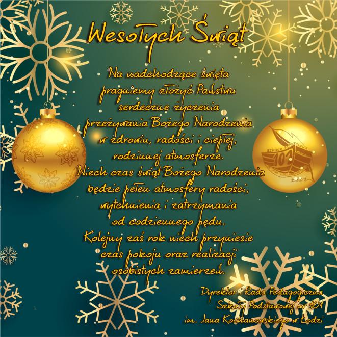 Życzenia świąteczne – Boże Narodzenie 2016