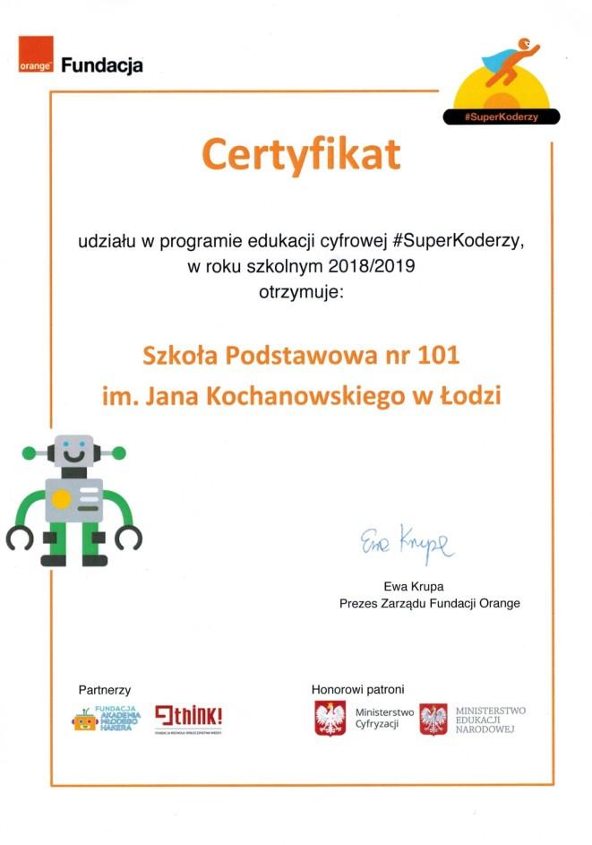 Certyfikat #SuperKoderów 2018/2019